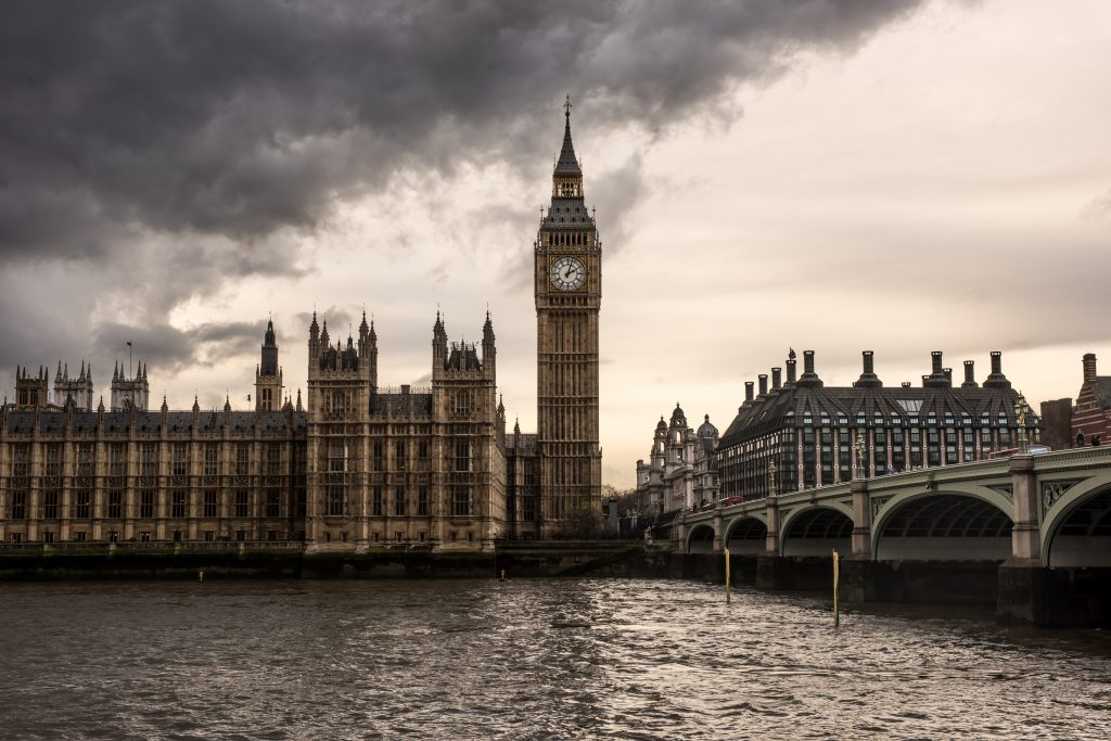 The Houses of Parliament and the Big Ben under thick dark clouds.