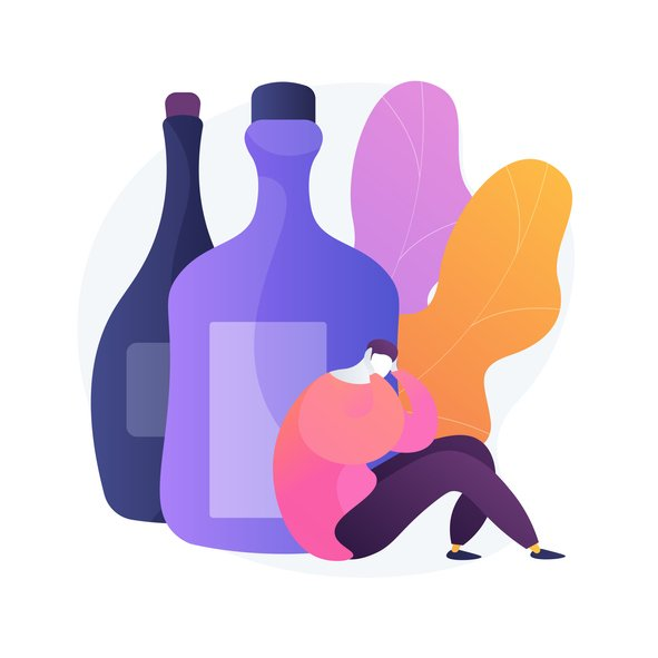 Illustration of a man surrounded by alcohol bottles