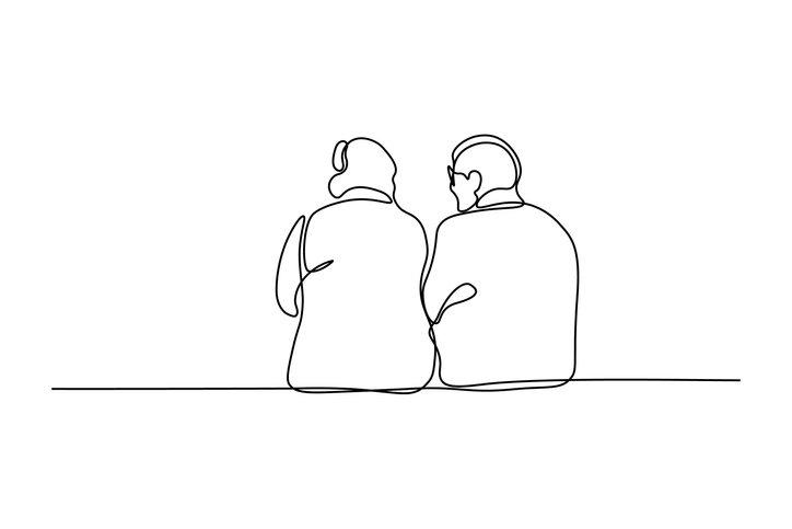 Image of an elderly couple talking