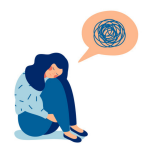 A girl sits alone and is worried about something