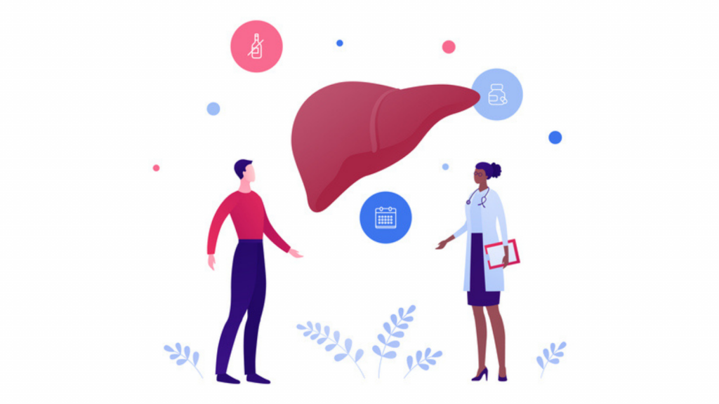 Doctor and patient discuss liver disease