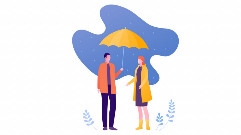 Two friends share an umbrella and speak in the rain
