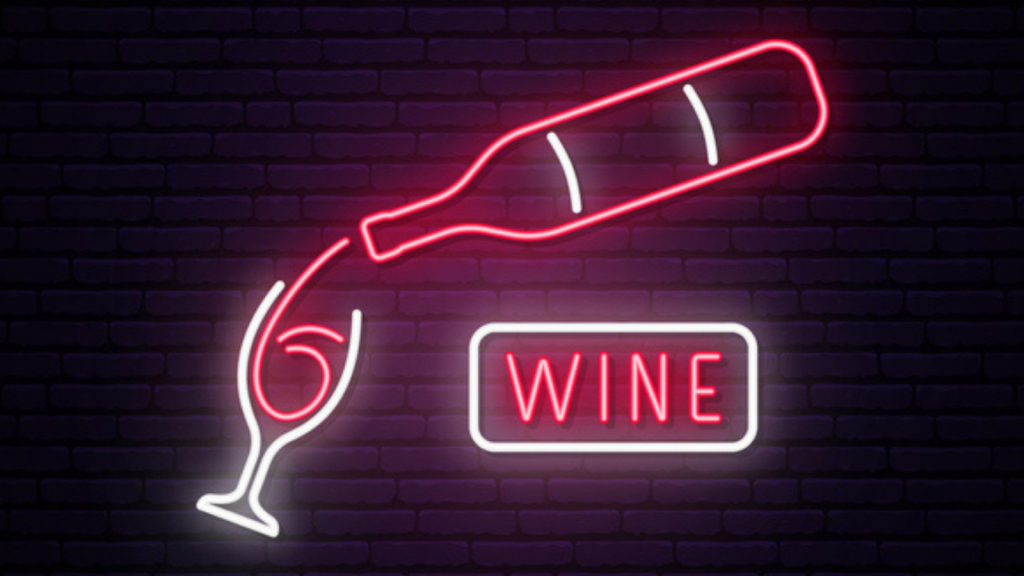Image of a sign advertising wine