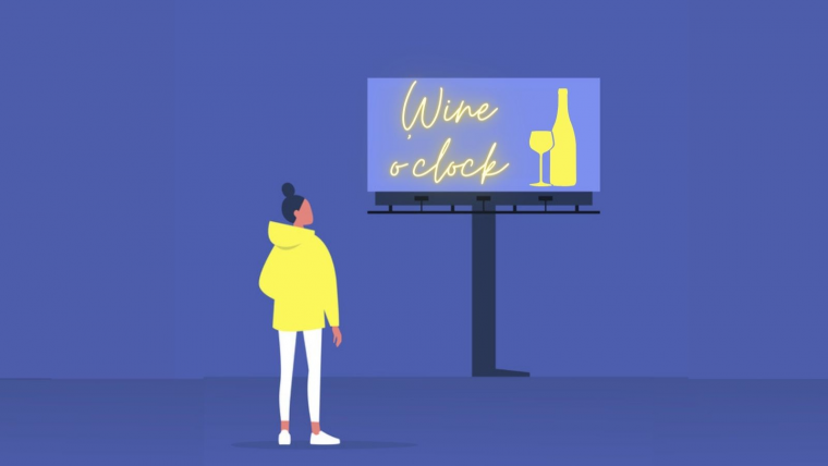 """Young girl looks up at billboard that reads """"wine o'clock"""""""