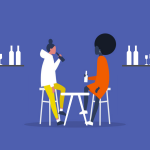 illustration of two girls drinking at a bar